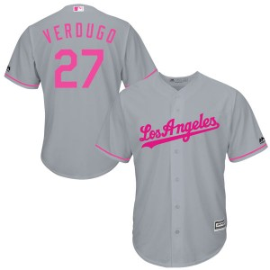Men's Majestic Los Angeles Dodgers Alex Verdugo Replica Gray Cool Base Mother's Day Jersey