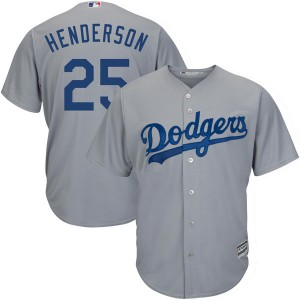 Youth Majestic Los Angeles Dodgers Rickey Henderson Replica Gray Cool Base Road Jersey