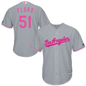 Youth Majestic Los Angeles Dodgers Dylan Floro Replica Gray Cool Base Mother's Day Jersey