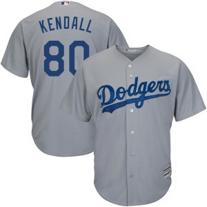 Men's Majestic Los Angeles Dodgers Jeren Kendall Authentic Gray Cool Base Road Jersey