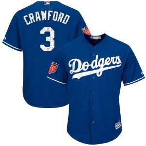 Men's Majestic Los Angeles Dodgers Carl Crawford Authentic Royal Cool Base 2018 Spring Training Jersey